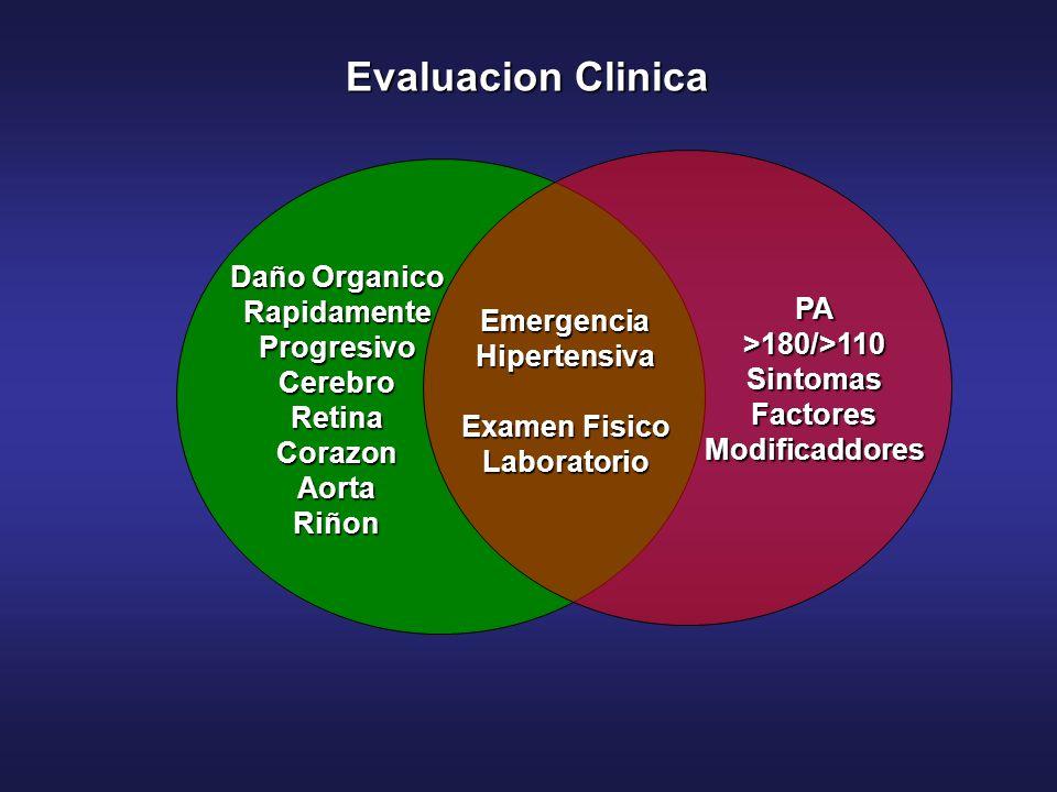 PA>180/>110SintomasFactoresModificaddores EmergenciaHipertensiva Examen Fisico Laboratorio Daño Organico Rapidamente Progresivo CerebroRetinaCorazonAo