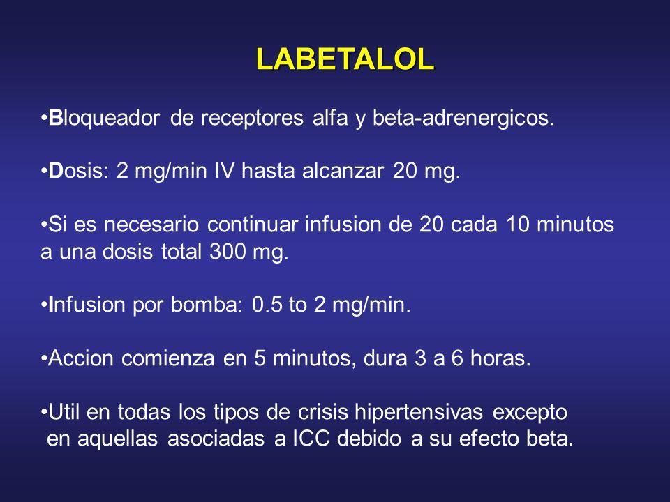 LABETALOL LABETALOL Bloqueador de receptores alfa y beta-adrenergicos. Dosis: 2 mg/min IV hasta alcanzar 20 mg. Si es necesario continuar infusion de