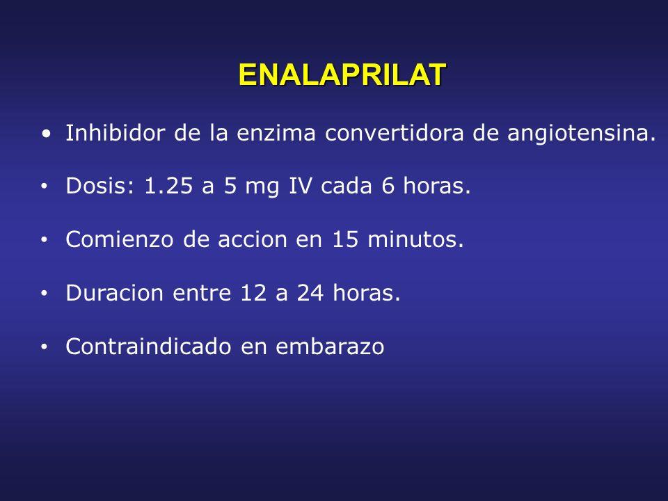 ENALAPRILAT ENALAPRILAT Inhibidor de la enzima convertidora de angiotensina. Dosis: 1.25 a 5 mg IV cada 6 horas. Comienzo de accion en 15 minutos. Dur