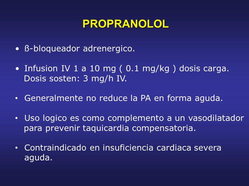 PROPRANOLOL PROPRANOLOL ß-bloqueador adrenergico. Infusion IV 1 a 10 mg ( 0.1 mg/kg ) dosis carga. Dosis sosten: 3 mg/h IV. Generalmente no reduce la