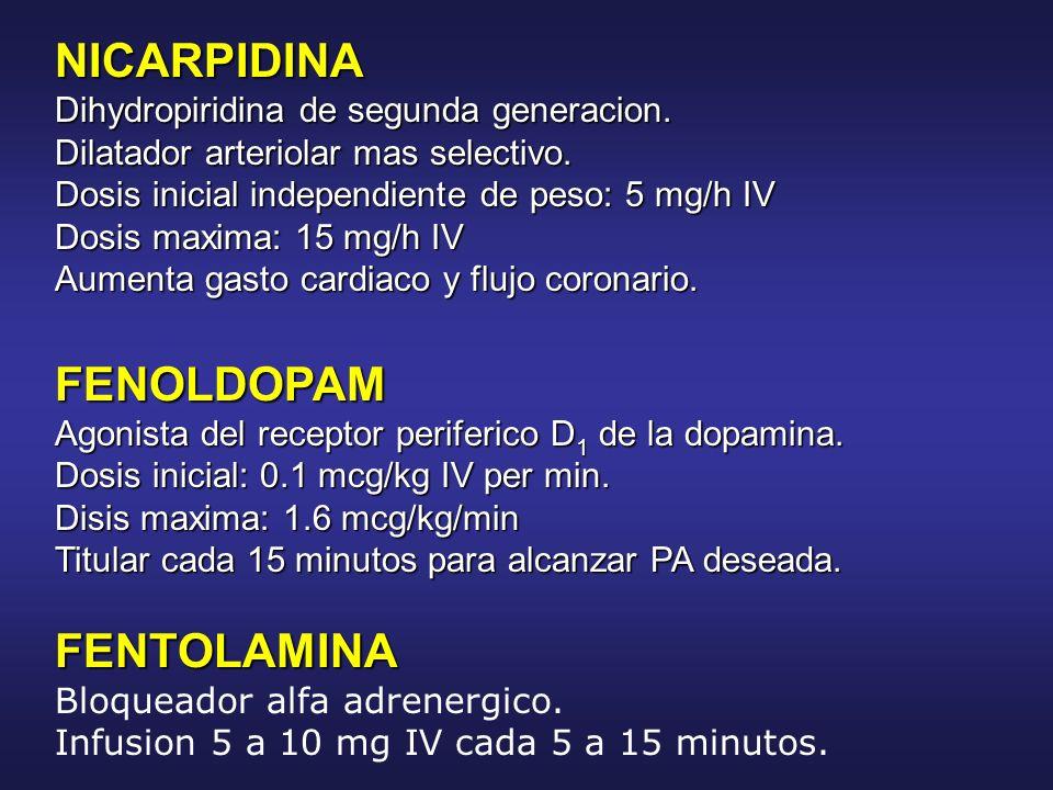 NICARPIDINA Dihydropiridina de segunda generacion. Dilatador arteriolar mas selectivo. Dosis inicial independiente de peso: 5 mg/h IV Dosis maxima: 15