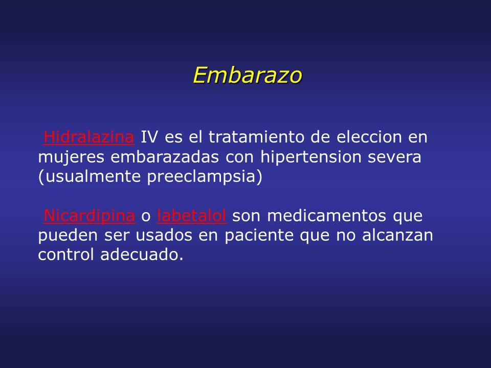Embarazo Hidralazina IV es el tratamiento de eleccion en mujeres embarazadas con hipertension severa (usualmente preeclampsia) Nicardipina o labetalol