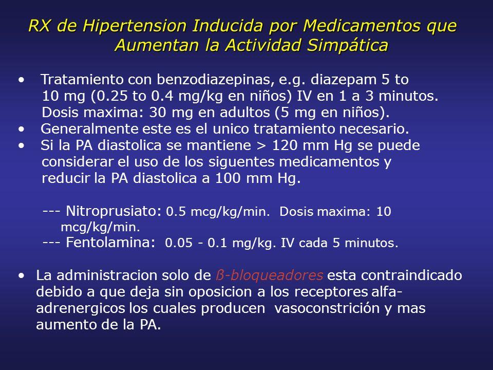 RX de Hipertension Inducida por Medicamentos que Aumentan la Actividad Simpática Tratamiento con benzodiazepinas, e.g. diazepam 5 to 10 mg (0.25 to 0.