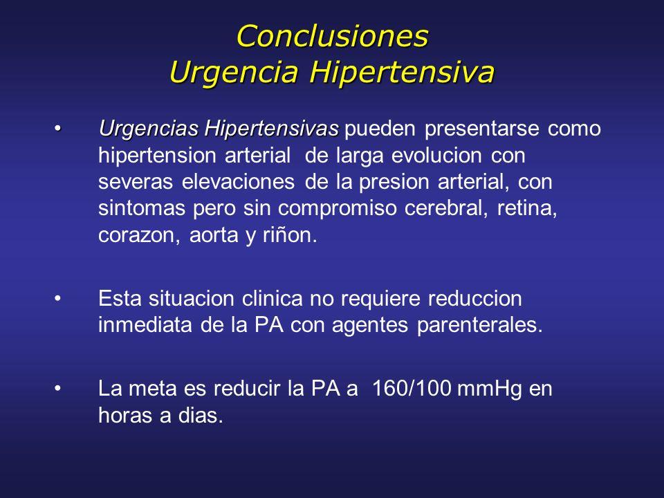 Conclusiones Urgencia Hipertensiva Urgencias HipertensivasUrgencias Hipertensivas pueden presentarse como hipertension arterial de larga evolucion con