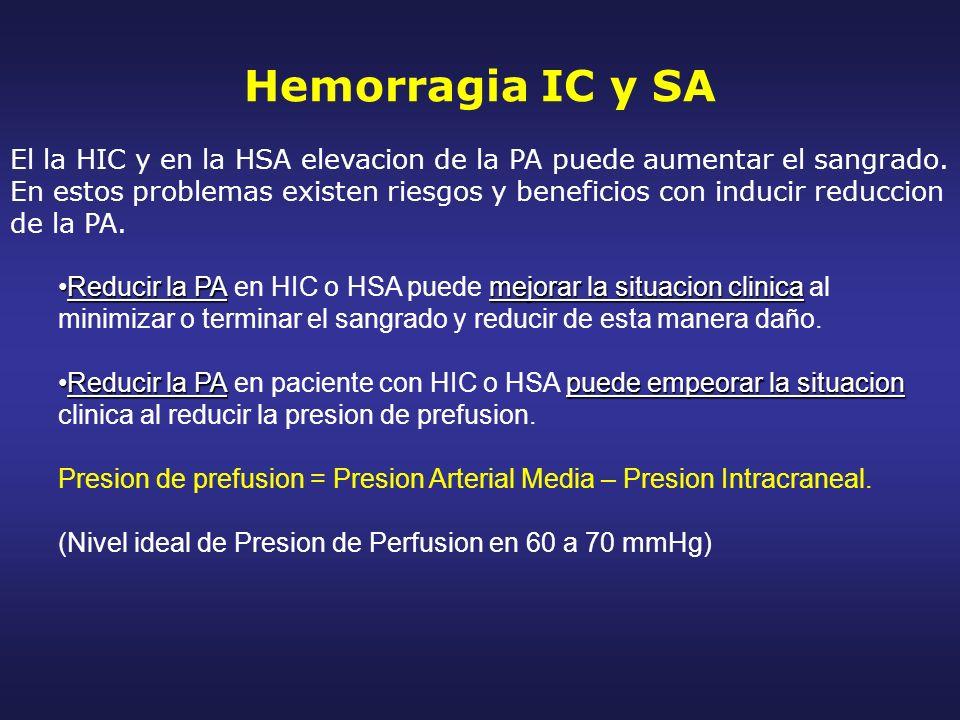 Hemorragia IC y SA El la HIC y en la HSA elevacion de la PA puede aumentar el sangrado. En estos problemas existen riesgos y beneficios con inducir re