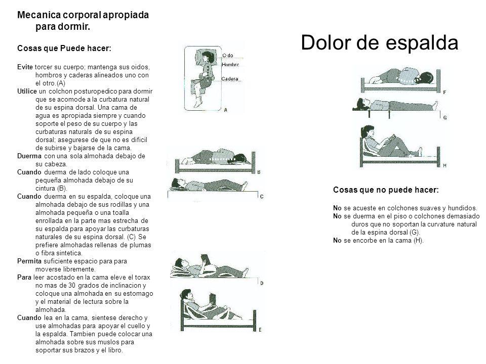 Dolor de espalda Mecanica corporal apropiada para dormir. Cosas que Puede hacer: Evite torcer su cuerpo; mantenga sus oidos, hombros y caderas alinead