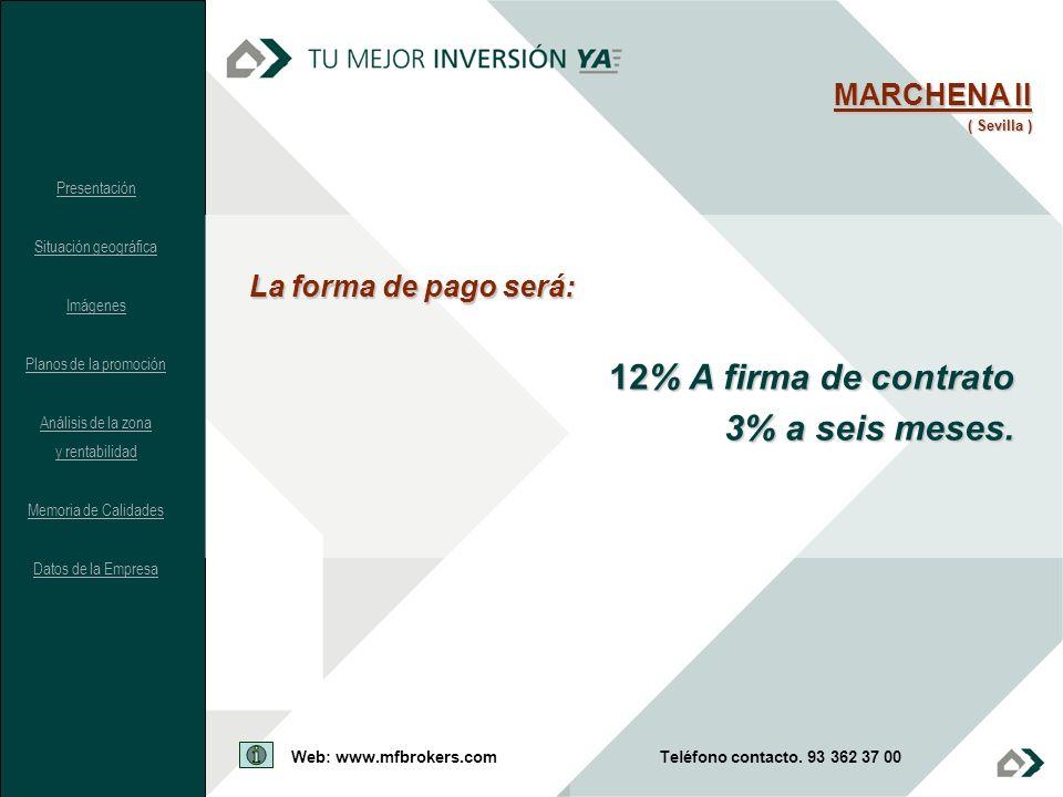 La forma de pago será: 12% A firma de contrato 3% a seis meses. MARCHENA II ( Sevilla ) Presentación Situación geográfica Imágenes Planos de la promoc