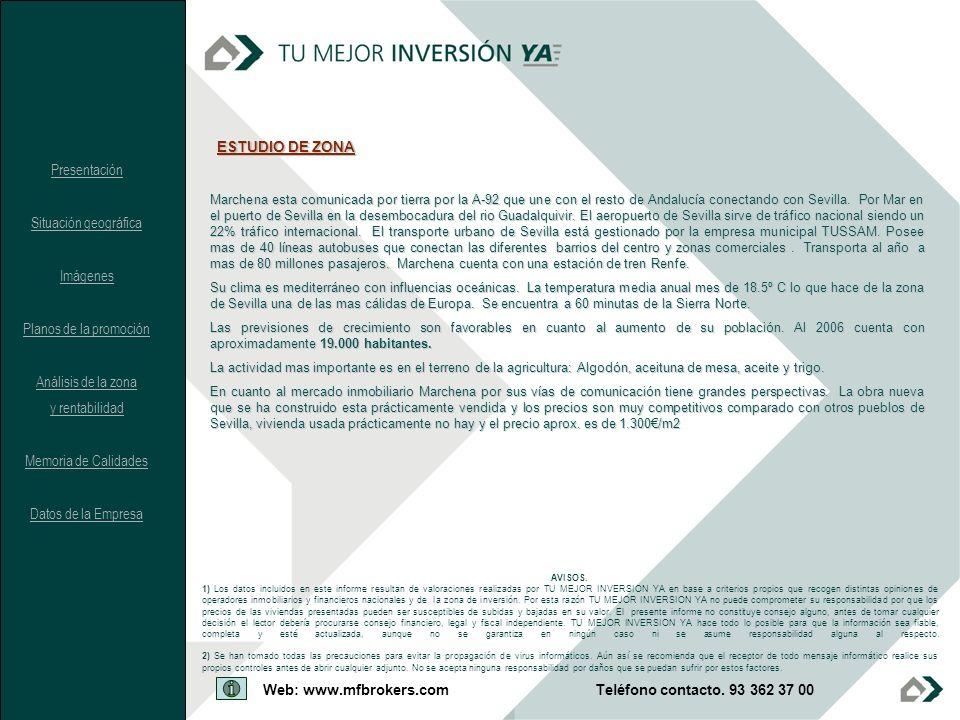 AVISOS. 1) Los datos incluidos en este informe resultan de valoraciones realizadas por TU MEJOR INVERSION YA en base a criterios propios que recogen d