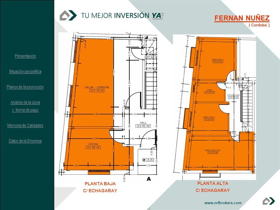 www.mfbrokers.com PLANTA BAJA C/ ECHAGARAY PLANTA ALTA C/ ECHAGARAY FERNAN NUÑEZ ( Cordoba ) Presentación Situación geográfica Planos de la promoción