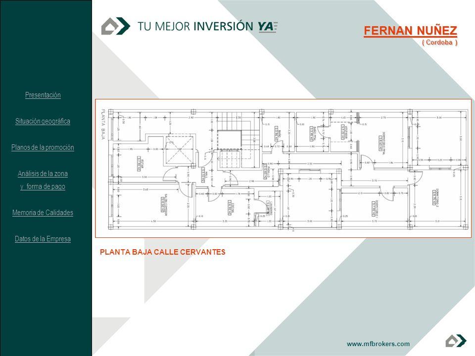 www.mfbrokers.com PLANTA BAJA CALLE CERVANTES FERNAN NUÑEZ ( Cordoba ) Presentación Situación geográfica Planos de la promoción Análisis de la zona y