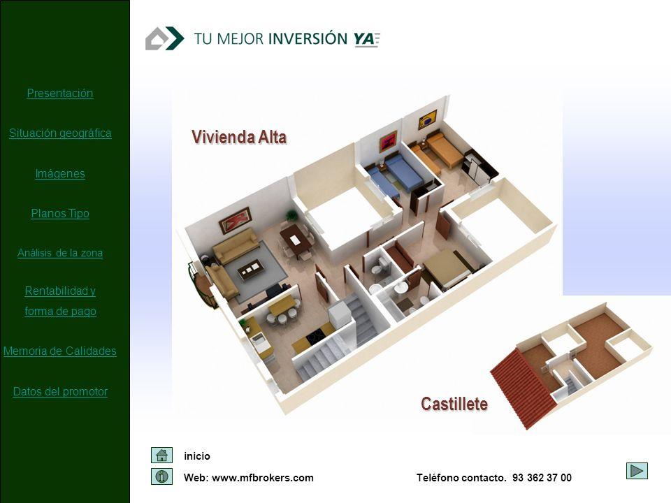 Web: www.mfbrokers.com inicio Teléfono contacto. 93 362 37 00 Vivienda Alta Castillete Presentación Situación geográfica Imágenes Planos Tipo Análisis