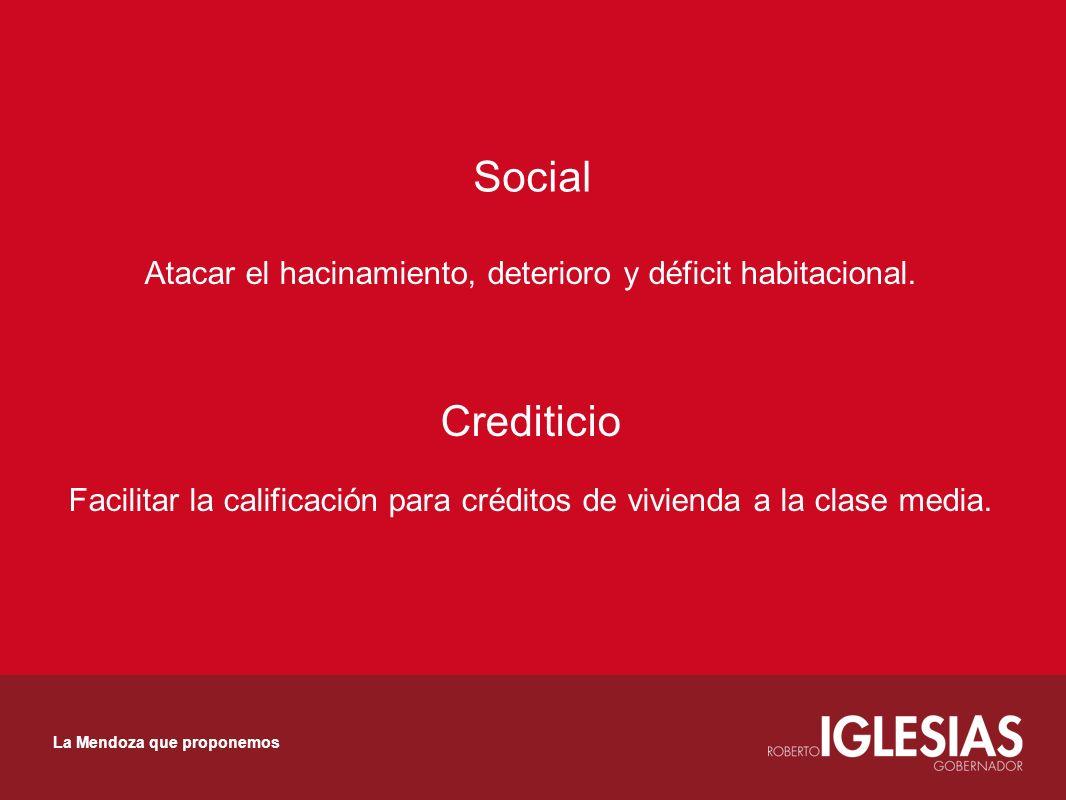Social Atacar el hacinamiento, deterioro y déficit habitacional. Crediticio Facilitar la calificación para créditos de vivienda a la clase media. La M