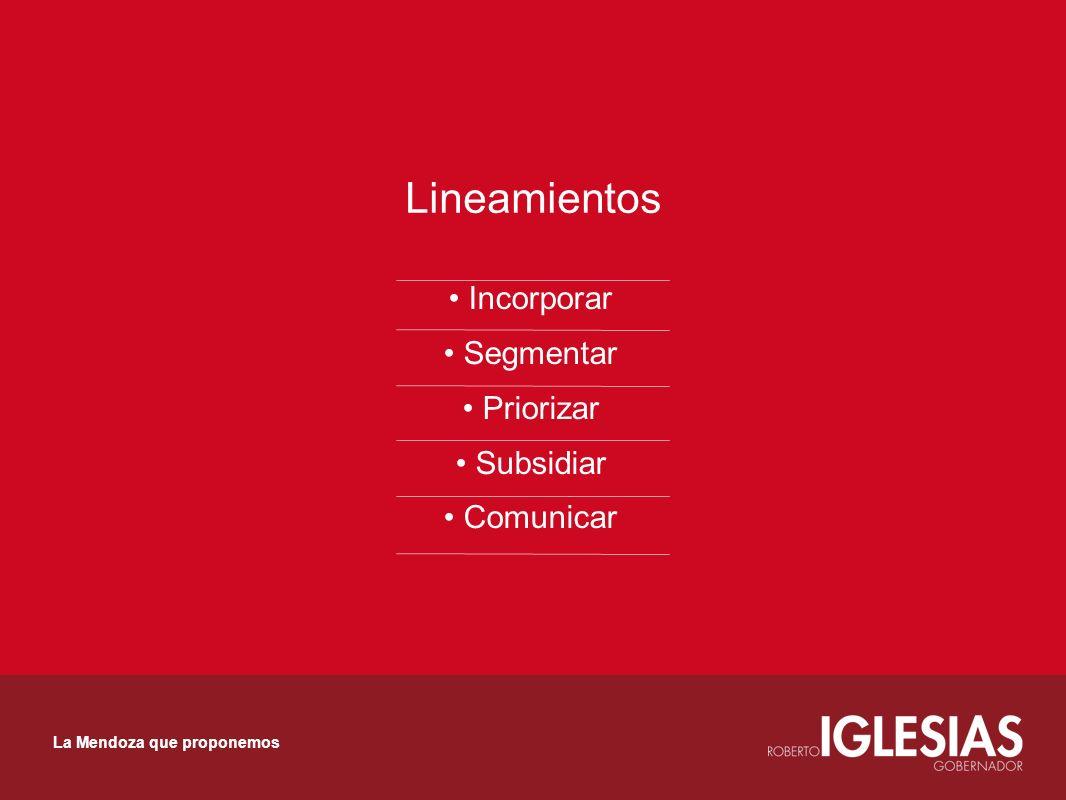 Lineamientos Incorporar Segmentar Priorizar Subsidiar Comunicar La Mendoza que proponemos