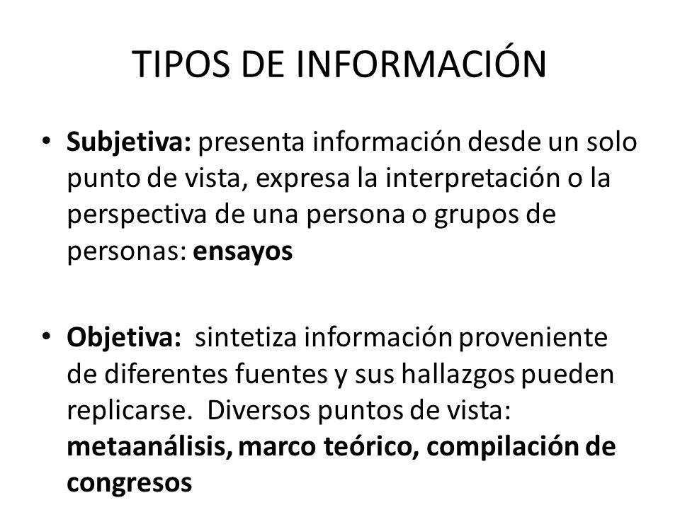 TIPOS DE INFORMACIÓN Subjetiva: presenta información desde un solo punto de vista, expresa la interpretación o la perspectiva de una persona o grupos
