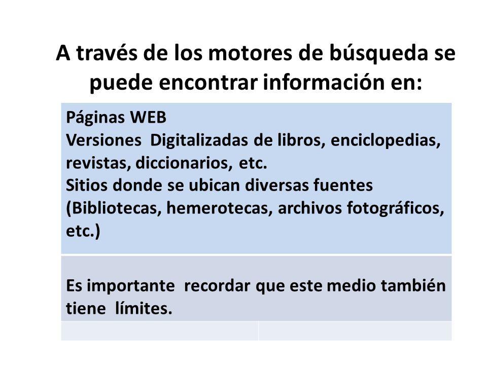 A través de los motores de búsqueda se puede encontrar información en: Páginas WEB Versiones Digitalizadas de libros, enciclopedias, revistas, diccion