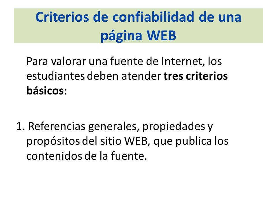 Criterios de confiabilidad de una página WEB Para valorar una fuente de Internet, los estudiantes deben atender tres criterios básicos: 1. Referencias