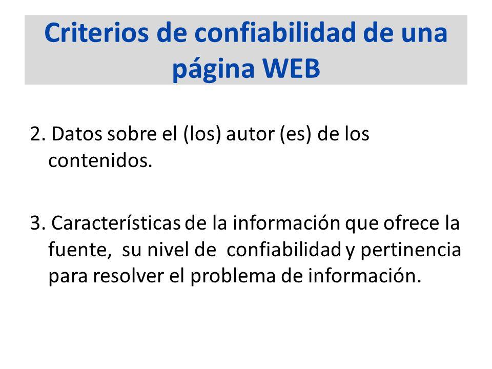 Criterios de confiabilidad de una página WEB 2. Datos sobre el (los) autor (es) de los contenidos. 3. Características de la información que ofrece la