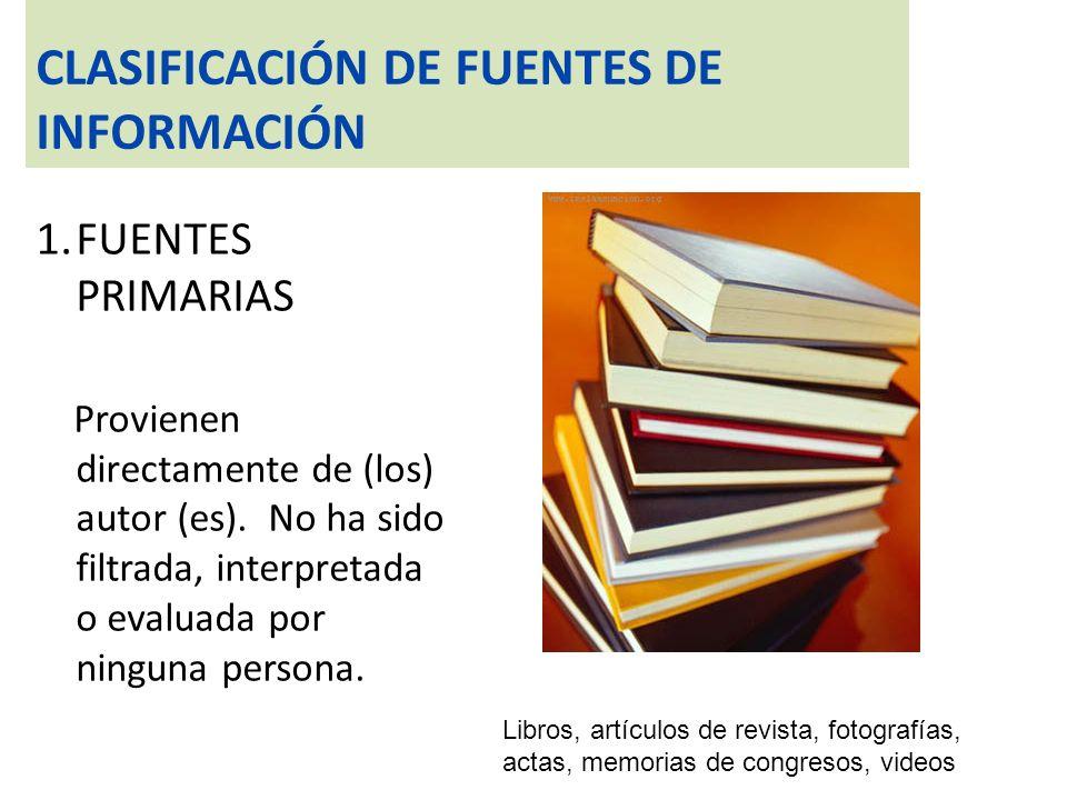 CLASIFICACION DE FUENTES DE INFORMACIÓN FUENTES SECUNDARIAS Ofrecen información de alguna manera procesada y organizada de acuerdo con un criterio específico Resúmenes e índices, catálogos, diccionarios, enciclopedias, fuentes biográficas, manuales