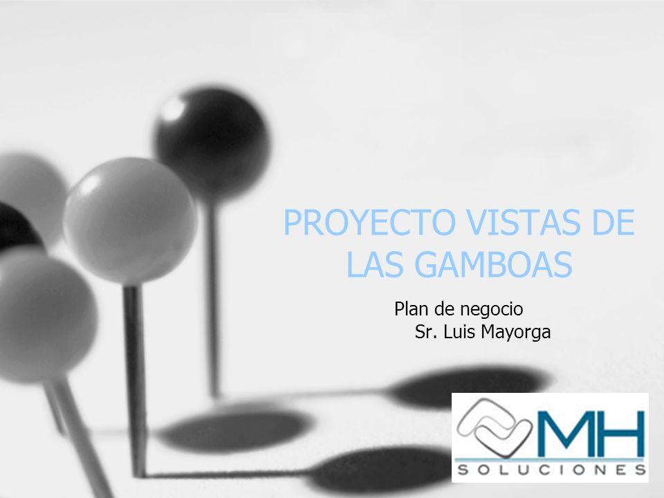 PROYECTO VISTAS DE LAS GAMBOAS Plan de negocio Sr. Luis Mayorga