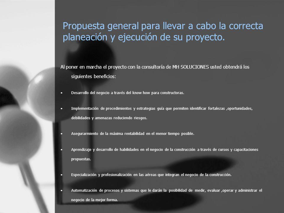 Propuesta general para llevar a cabo la correcta planeación y ejecución de su proyecto.
