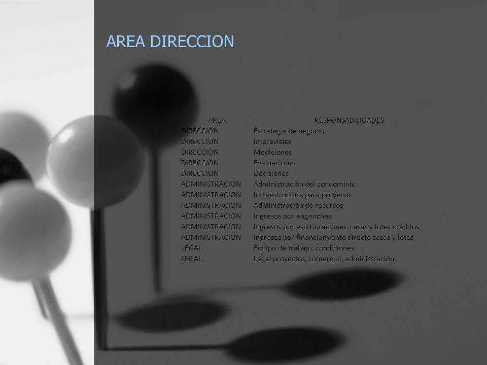 AREA DIRECCION AREARESPONSABILIDADES DIRECCIONEstrategia de negocio DIRECCIONImprevistos DIRECCIONMediciones DIRECCIONEvaluaciones DIRECCIONDecisiones ADMINISTRACIONAdministración del condominio ADMINISTRACIONInfraestructura para proyecto ADMINISTRACIONAdministración de recursos ADMINISTRACIONIngresos por enganches ADMINISTRACIONIngresos por escrituraciones casas y lotes créditos ADMINISTRACIONIngresos por financiamiento directo casas y lotes LEGALEquipo de trabajo, condiciones LEGALLegal proyectos, comercial, administración.