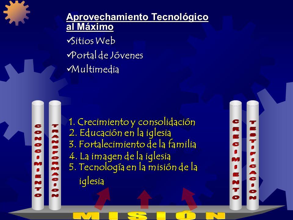 www.iasdsanjudas.com 1. Crecimiento y consolidación 2. Educación en la iglesia 3. Fortalecimiento de la familia 4. La imagen de la iglesia Aumento de