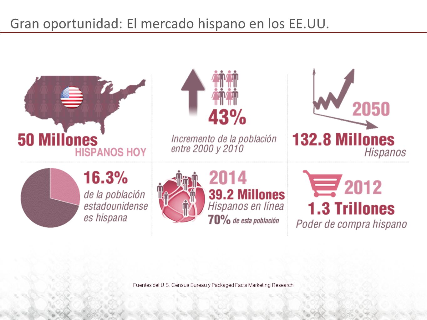 Gran oportunidad: El mercado hispano en los EE.UU. Fuentes del U.S. Census Bureau y Packaged Facts Marketing Research