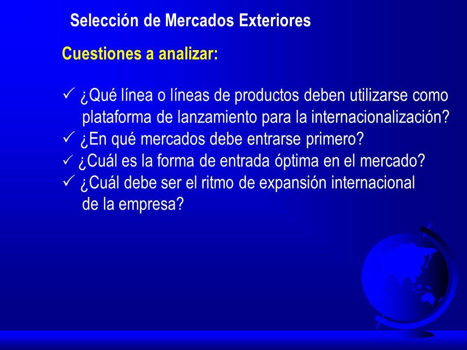 Selección de Mercados Exteriores: Identificación macro de los mercados y clusters de países Segmentación de Países: Grupo de países que responden de una manera similar a una estrategia de marketing determinada.
