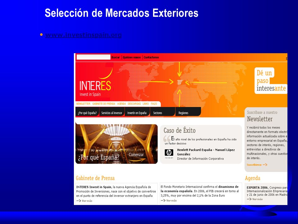 Selección de Mercados Exteriores www.investinspain.org