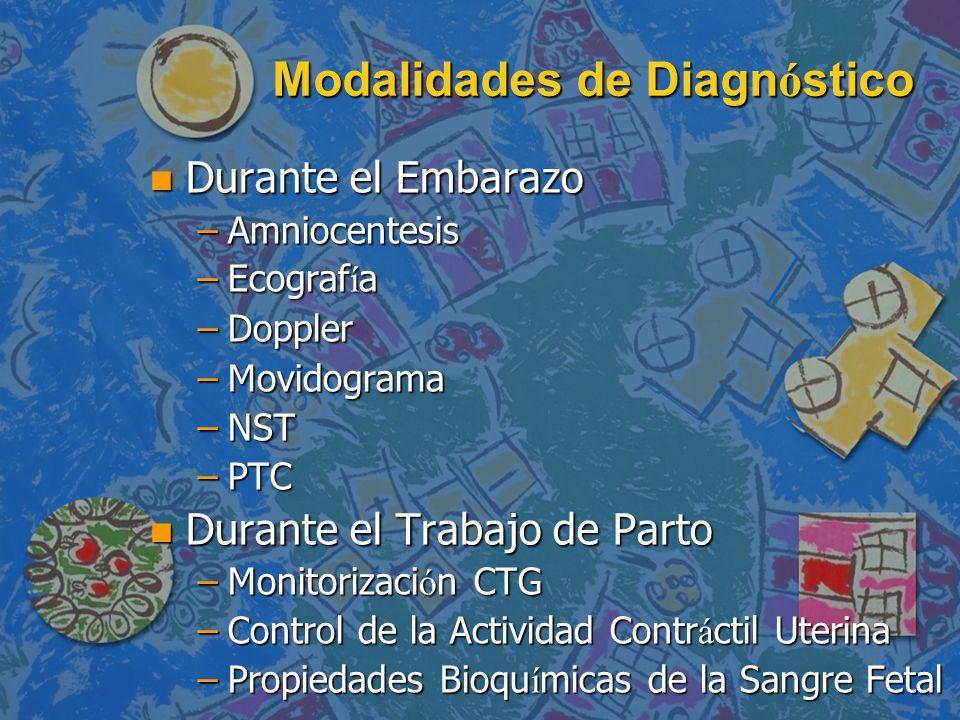 Modalidades de Diagn ó stico n Durante el Embarazo –Amniocentesis –Ecograf í a –Doppler –Movidograma –NST –PTC n Durante el Trabajo de Parto –Monitori
