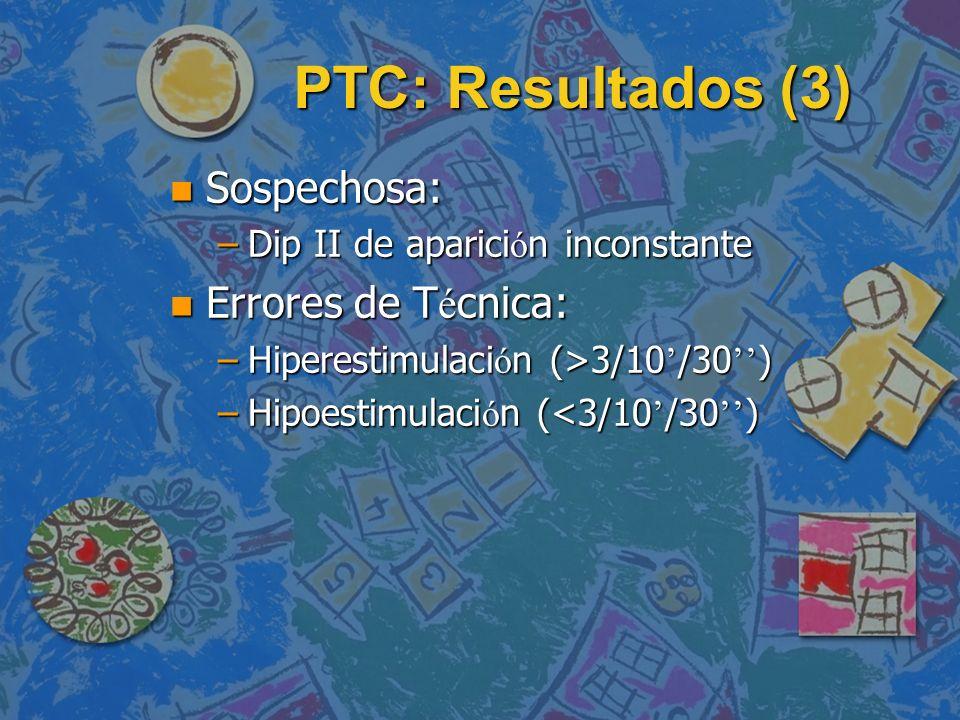 PTC: Resultados (3) n Sospechosa: –Dip II de aparici ó n inconstante Errores de T é cnica: Errores de T é cnica: –Hiperestimulaci ó n (>3/10 /30 ) –Hi