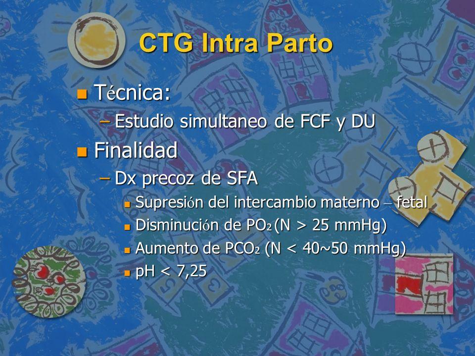 CTG Intra Parto T é cnica: T é cnica: –Estudio simultaneo de FCF y DU n Finalidad –Dx precoz de SFA Supresi ó n del intercambio materno – fetal Supres