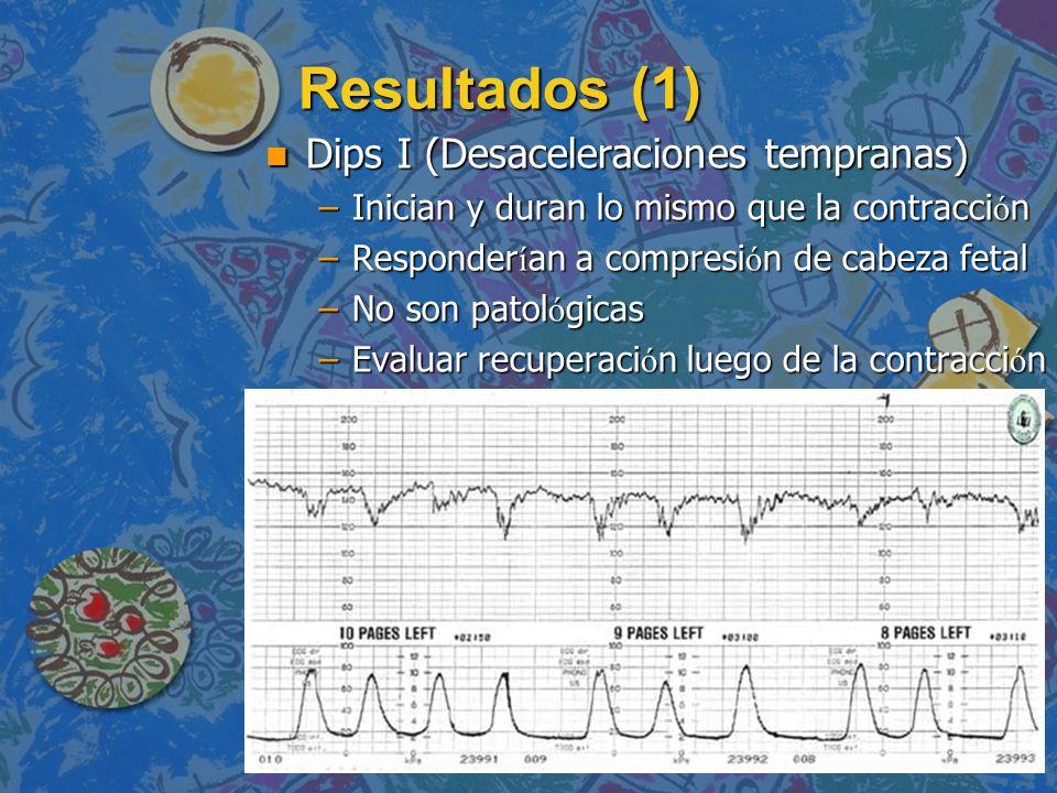 Resultados (1) n Dips I (Desaceleraciones tempranas) –Inician y duran lo mismo que la contracci ó n –Responder í an a compresi ó n de cabeza fetal –No