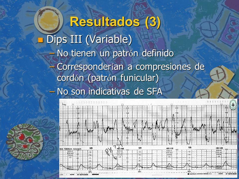 Resultados (3) n Dips III (Variable) –No tienen un patr ó n definido –Corresponder í an a compresiones de cord ó n (patr ó n funicular) –No son indica
