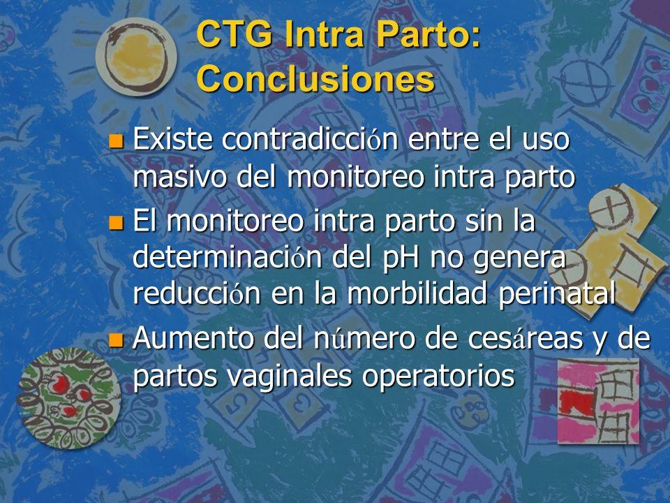 CTG Intra Parto: Conclusiones n Existe contradicci ó n entre el uso masivo del monitoreo intra parto n El monitoreo intra parto sin la determinaci ó n