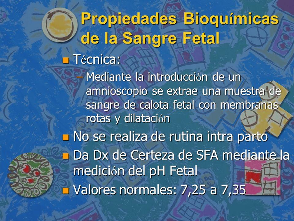 Propiedades Bioqu í micas de la Sangre Fetal T é cnica: T é cnica: –Mediante la introducci ó n de un amnioscopio se extrae una muestra de sangre de ca