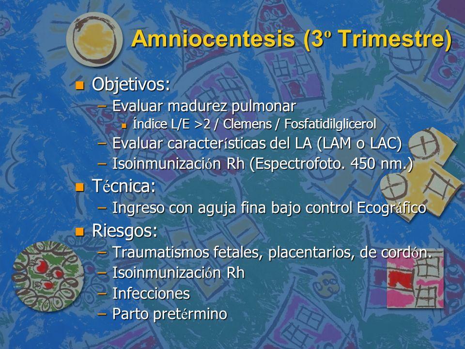 Amniocentesis (3 º Trimestre) n Objetivos: –Evaluar madurez pulmonar Í ndice L/E >2 / Clemens / Fosfatidilglicerol Í ndice L/E >2 / Clemens / Fosfatid