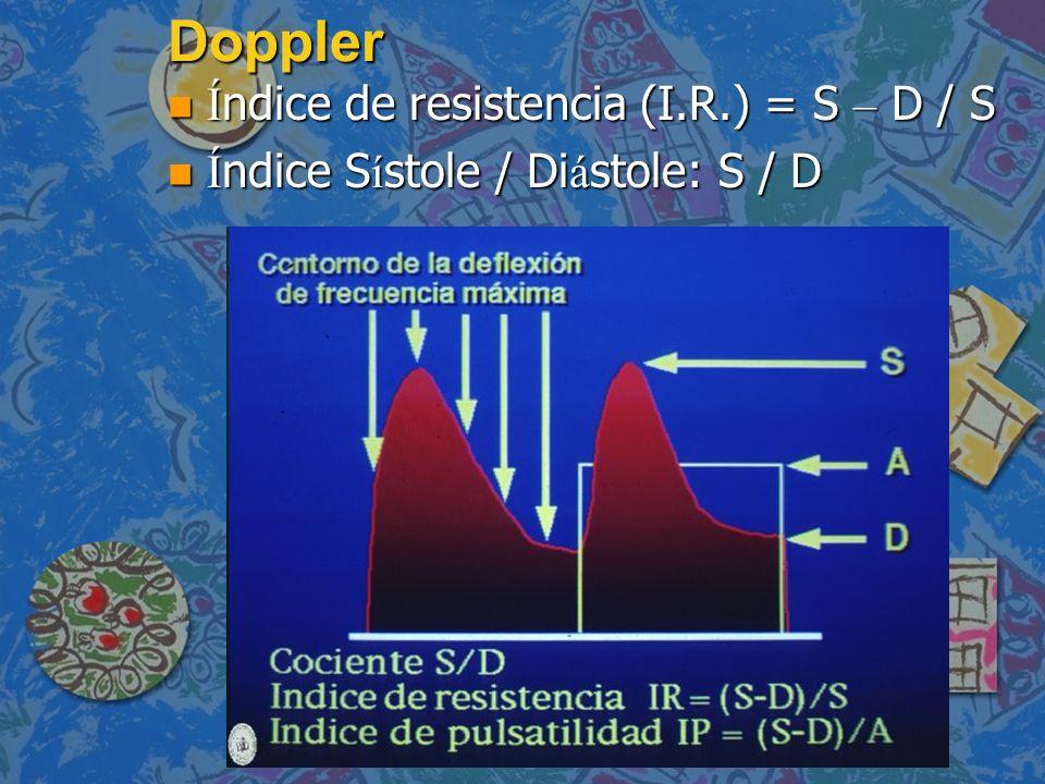 Doppler Í ndice de resistencia (I.R.) = S – D / S Í ndice de resistencia (I.R.) = S – D / S Í ndice S í stole / Di á stole: S / D Í ndice S í stole /