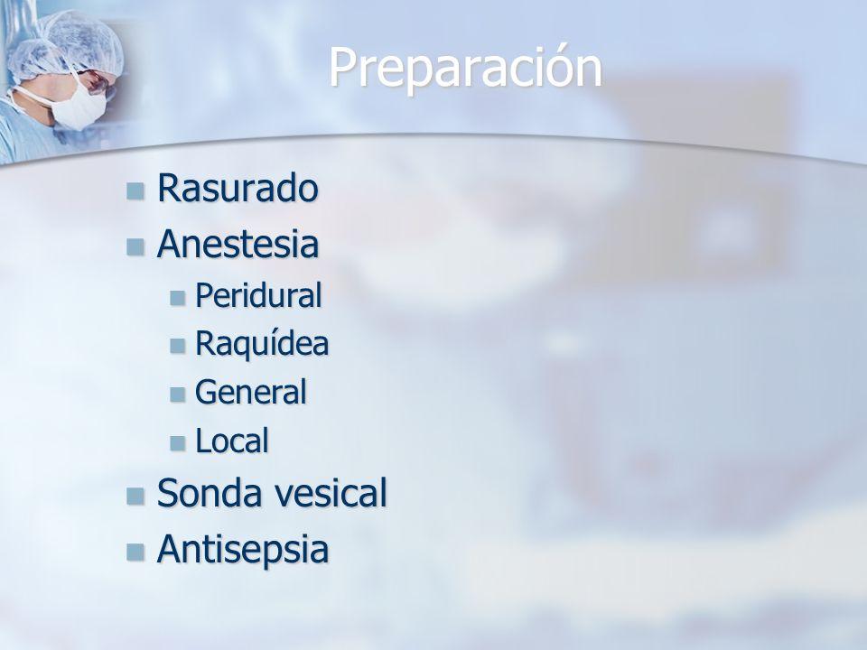 Preparación Rasurado Rasurado Anestesia Anestesia Peridural Peridural Raquídea Raquídea General General Local Local Sonda vesical Sonda vesical Antise