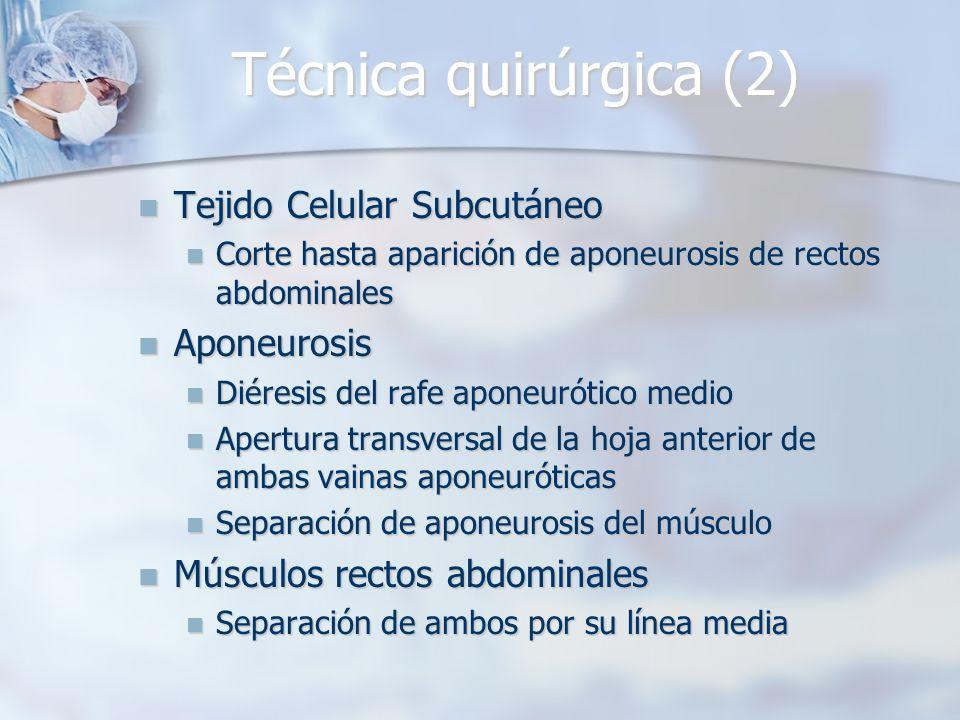 Técnica quirúrgica (2) Tejido Celular Subcutáneo Tejido Celular Subcutáneo Corte hasta aparición de aponeurosis de rectos abdominales Corte hasta apar