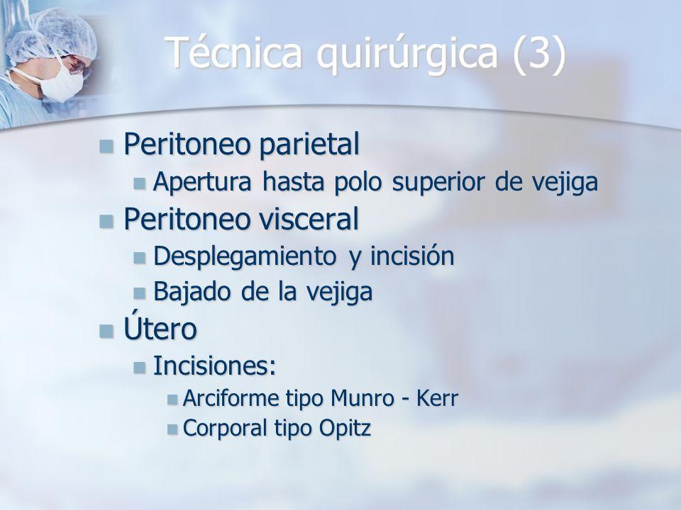 Técnica quirúrgica (3) Peritoneo parietal Peritoneo parietal Apertura hasta polo superior de vejiga Apertura hasta polo superior de vejiga Peritoneo v