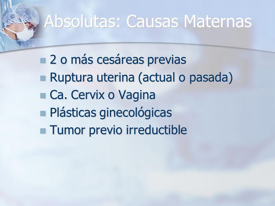 Absolutas: Causas Maternas 2 o más cesáreas previas 2 o más cesáreas previas Ruptura uterina (actual o pasada) Ruptura uterina (actual o pasada) Ca. C