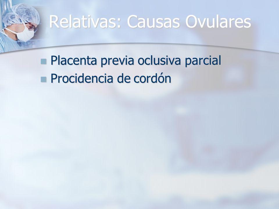Relativas: Causas Ovulares Placenta previa oclusiva parcial Placenta previa oclusiva parcial Procidencia de cordón Procidencia de cordón