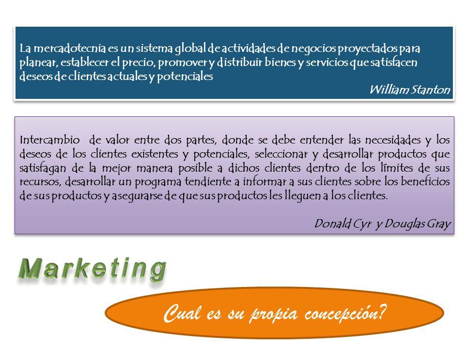 La mercadotecnia es el proceso de planeación, ejecución y conceptualización de precios, promoción y distribución de ideas, mercancías y términos para