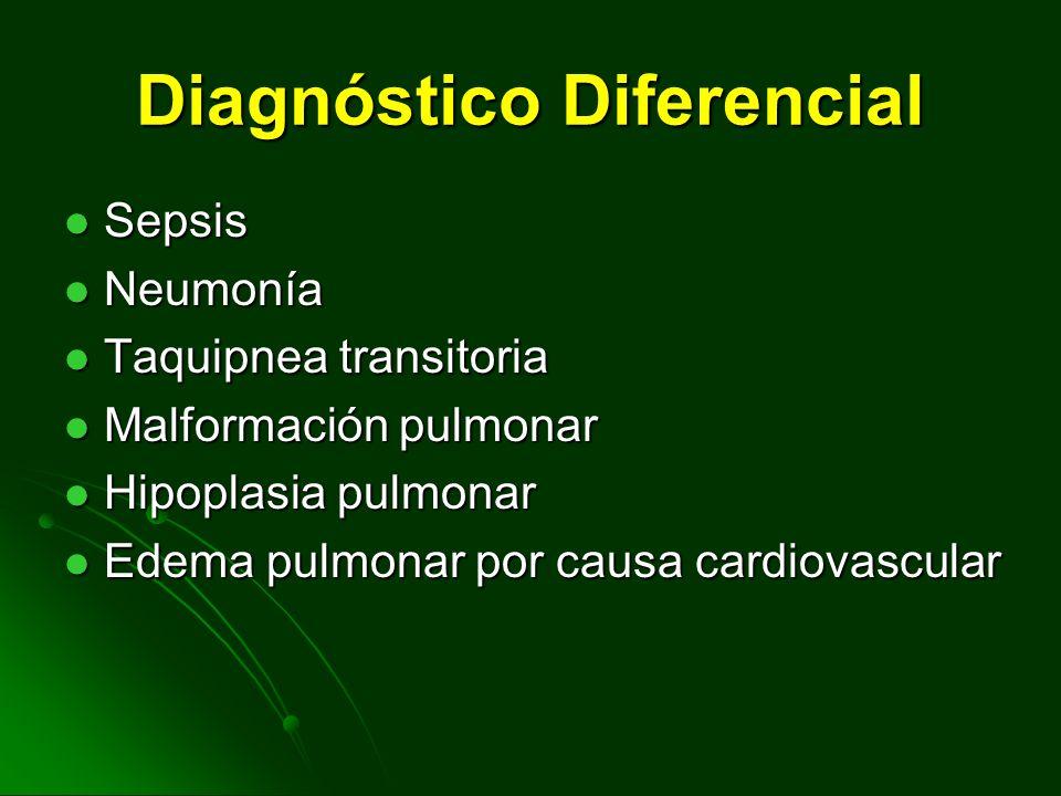 DIAGNOSTICO Gasometria: Requerimiento de F I O 2 mayor de 0.4 para mantener PO 2 > 50 mmHg. Requerimiento de F I O 2 mayor de 0.4 para mantener PO 2 >
