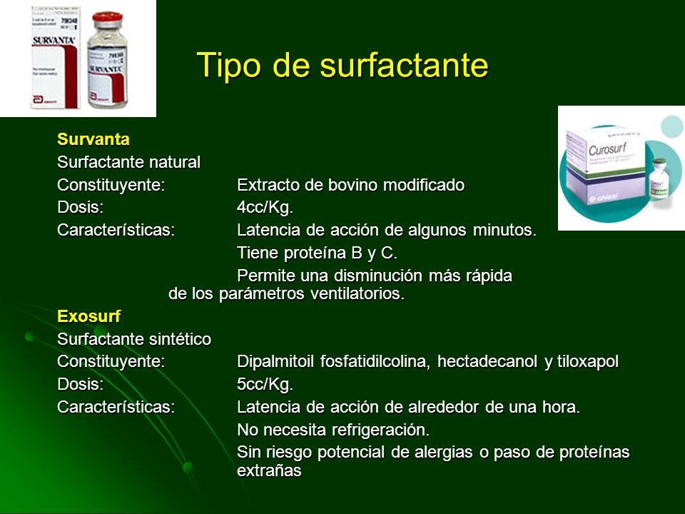 Surfactante: Composición Fosfolípidos: 80% Dipalmitoil fospatidil colina es el mayor responsable en la reducción de la tensión superficial Lípidos neu