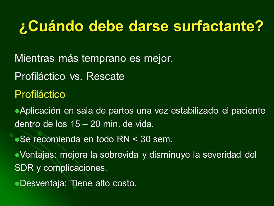Tipo de surfactante Survanta Surfactante natural Constituyente:Extracto de bovino modificado Dosis:4cc/Kg. Características:Latencia de acción de algun