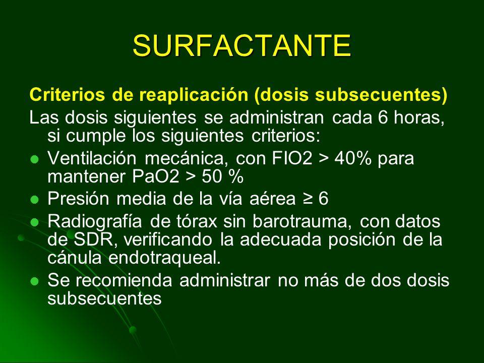 SURFACTANTE Criterios de aplicación (primera dosis): Edad menor a 24horas de vida. Radiografía de tórax compatible con enfermedad de membrana hialina.