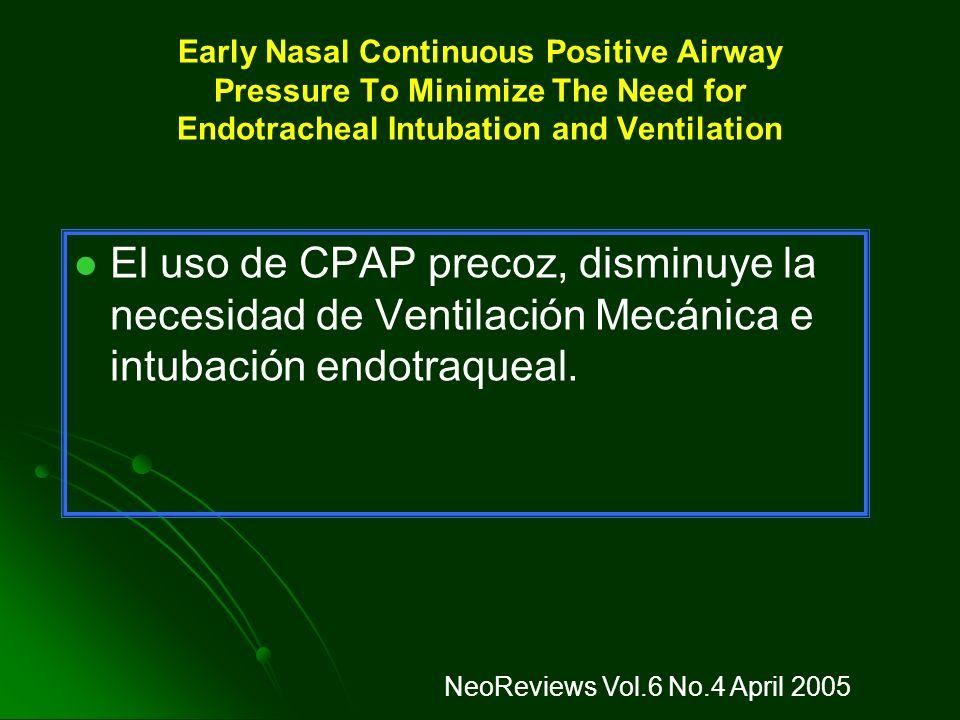 APOYO VENTILATORIO - CPAP Uso precoz de CPAP nasal. Uso precoz de CPAP nasal. En prematuros, la administración precoz de CPAP nasal redujo la incidenc