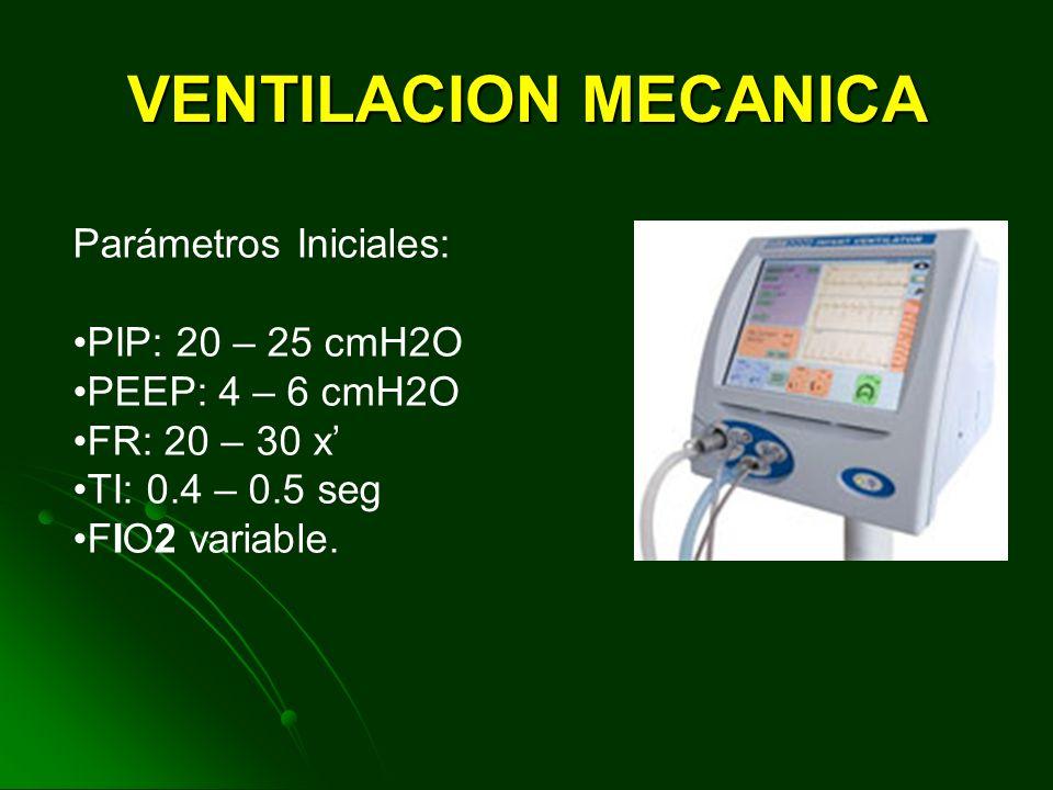 VENTILACION MECANICA Esto habitualmente se consigue con el uso de ventilación mecánica convencional utilizando presión positiva al final de la espirac